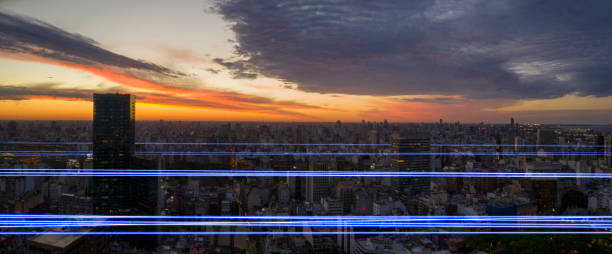 Information highway in Buenos Aires cityscape in sunset - foto stock