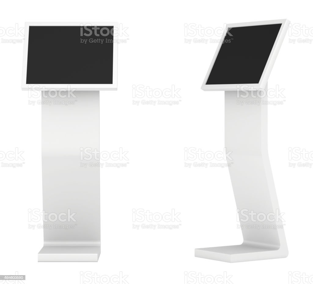 information kiosk. Information terminal. interactive kiosk on white background - Photo