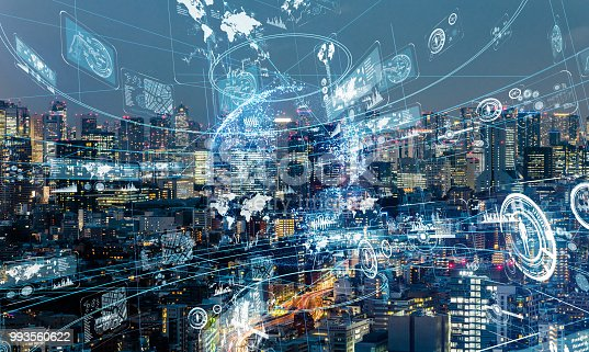 istock Information network concept. Smart city. 993560622