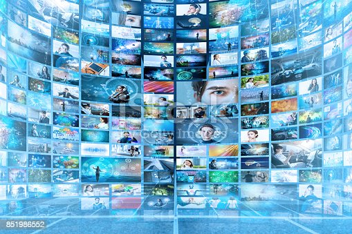 istock Information network concept. Virtual museum. Video streaming service. 851986552