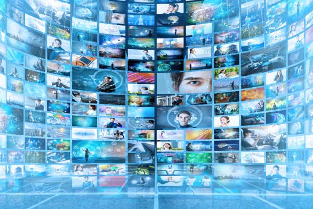 情報ネットワークのコンセプト。仮想博物館。ビデオのストリーミング サービス。 ストックフォト