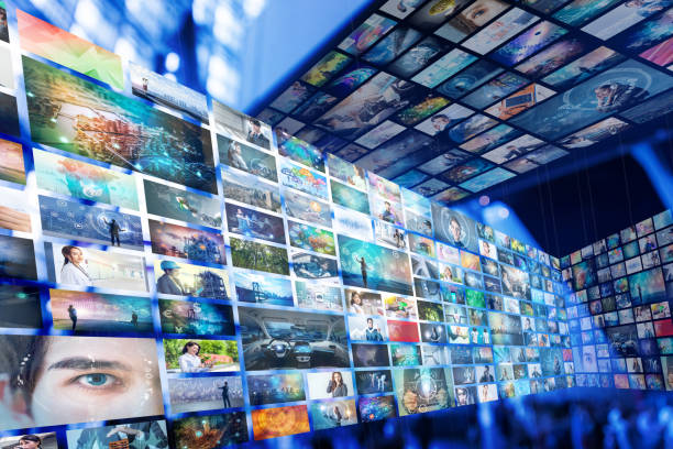 Information network concept. Virtual museum. Video streaming service. stock photo