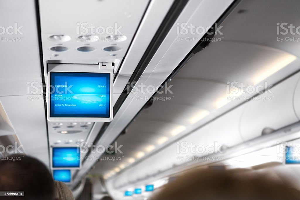 Information Screen Inside Of An Airplane stock photo