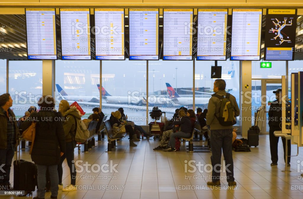 Information screens airport stock photo