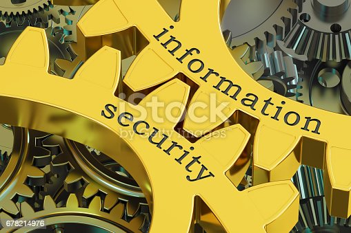 istock Information Security concept on the gearwheels, 3D rendering 678214976