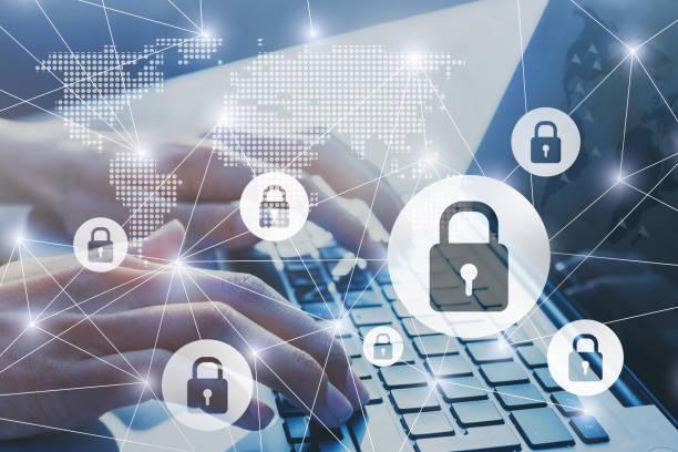 segurança da informação, garantida o conceito de conexão de internet de rede cyber - computador cadeado - fotografias e filmes do acervo