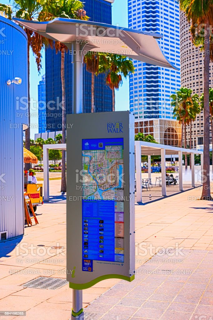 Information Sign And Map On The Riverwalk In Downtown Tampa Fl Stock on