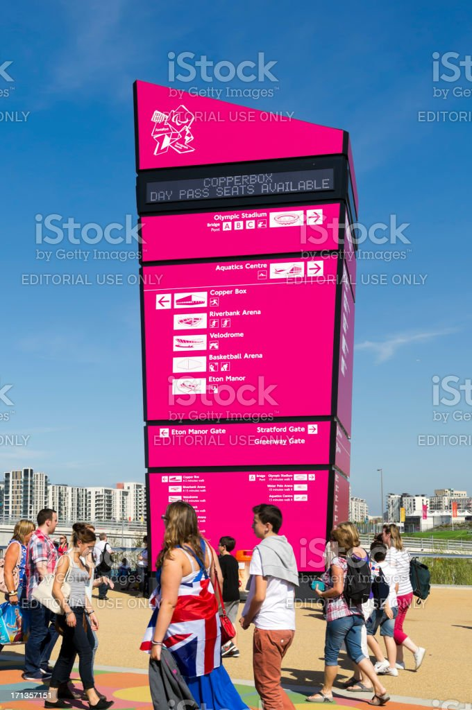 Information sign in London's Olympic Park stock photo