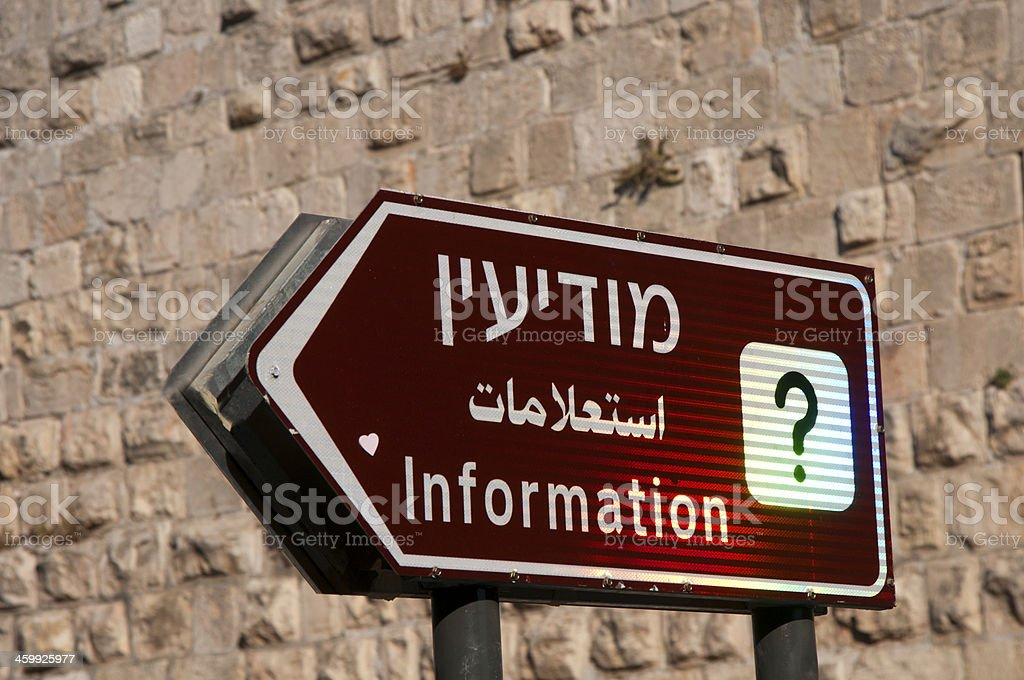 Information sign, Israel, stock photo