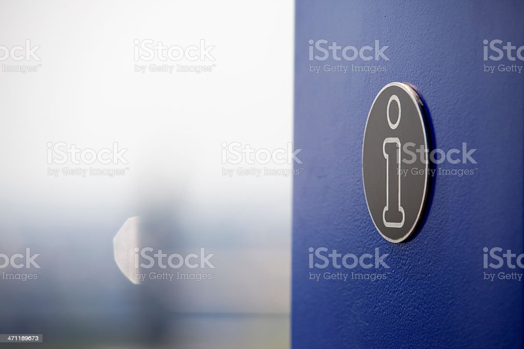 Information sign on blue metal plate stock photo