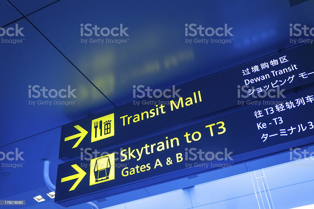Information Sign Panel at the Airport of Singapore stock photo