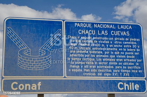 Information signal about Las Cuevas chaccu, prehispanic ancestral technique to capture and shearing of vicunas. Lauca National Park. Chile.