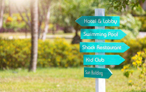 information signs in place. stock photo
