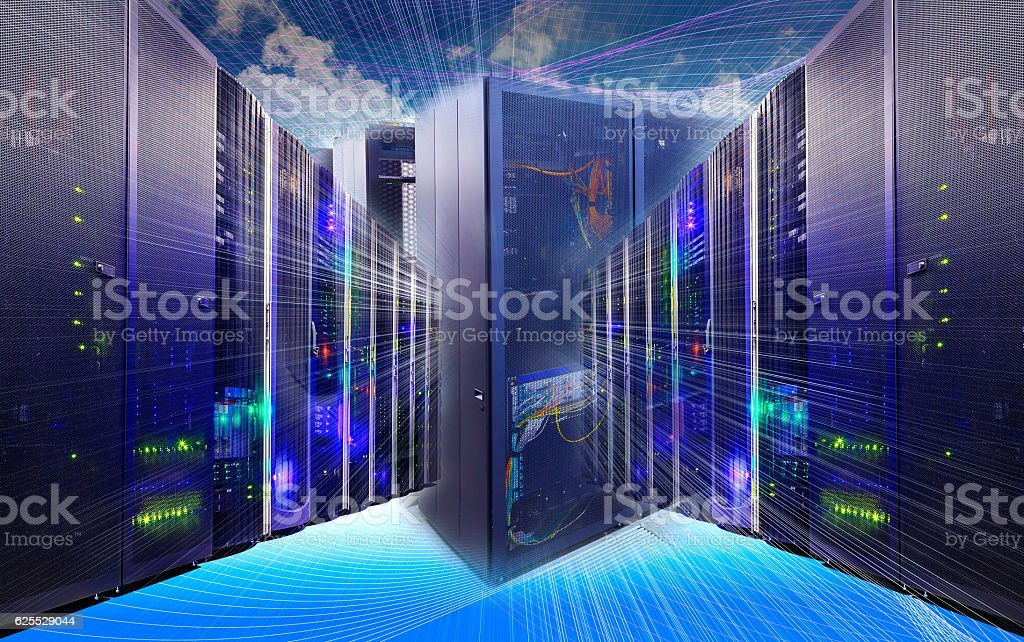 information technology collage of data center with racks equipment stock photo