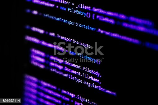 istock Information technology concept. Coding programmer language script text on screen monitor display. Programmer occupation job. Selective focus 891992114