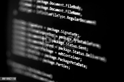 istock Information technology concept. Coding programmer language script text on screen monitor display. Programmer occupation job. Selective focus 891992118