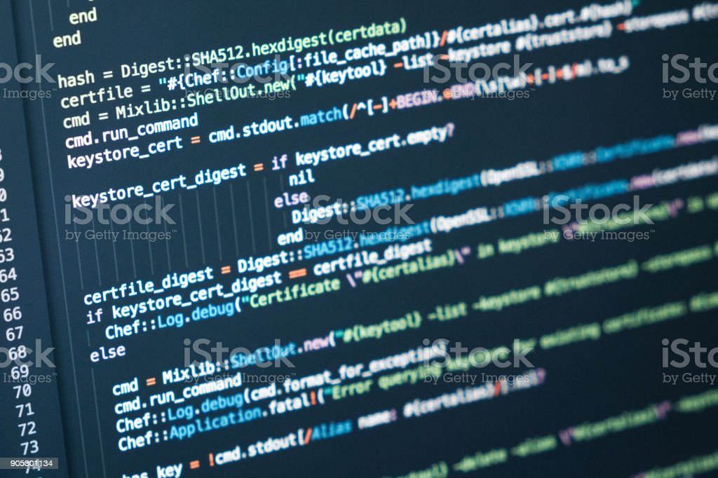 Information technology concept. Coding script text on screen. Programming code abstract screen stock photo