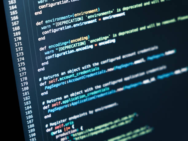 Information technology concept. Coding script text on screen. Programming code abstract screen - foto stock