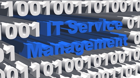 ITSM Information Technology Service Management concept - blue lettering integrated into white digits of the binary code with shadows on the graphic elements - 3D-illustration