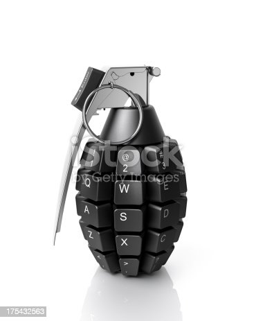 Information weapon. Keypad grenade isolated on white.