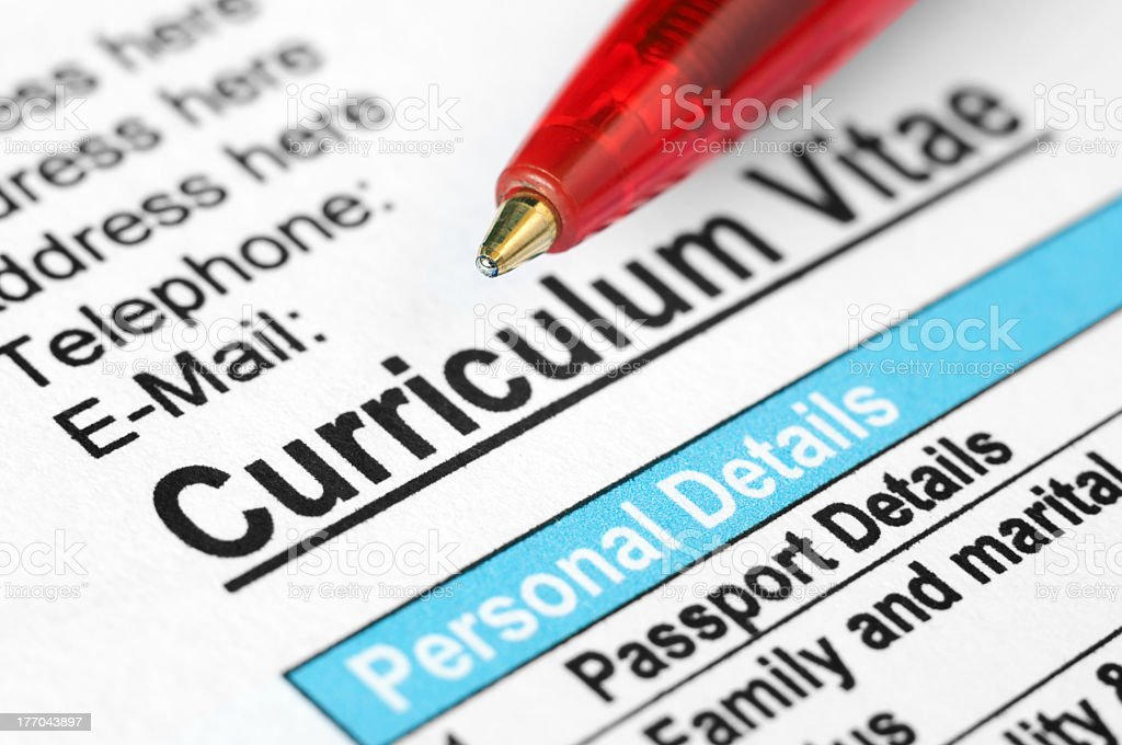 A informational curriculum vitae royalty-free stock photo