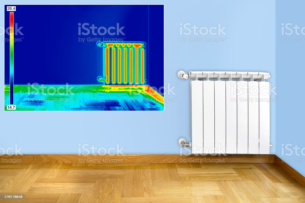 Infrared image of Radiator stock photo