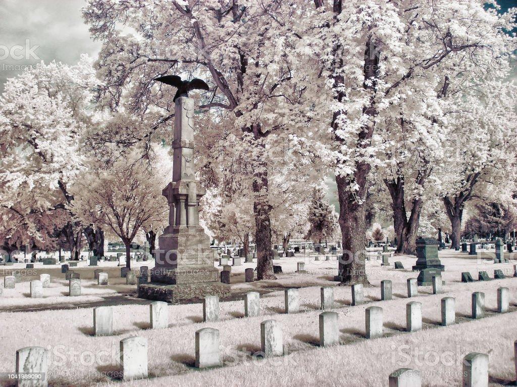 Infrared image of Tahoma cemetery in Yakima, WA stock photo
