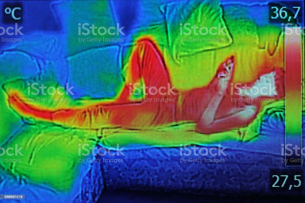 Infrared image showing the heat emission when woman used smartphone Infrared thermography image showing the heat emission when woman used smartphone or cell phone. Adult Stock Photo
