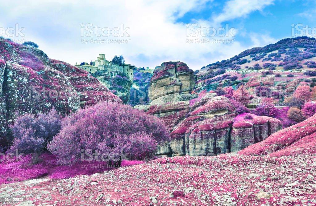 infrared landscape of Meteora Greece foto stock royalty-free