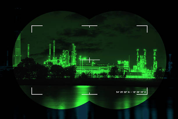 Infrared night view Chemical industry the threat of terrorism - Concept Photo. counter terrorism stock pictures, royalty-free photos & images