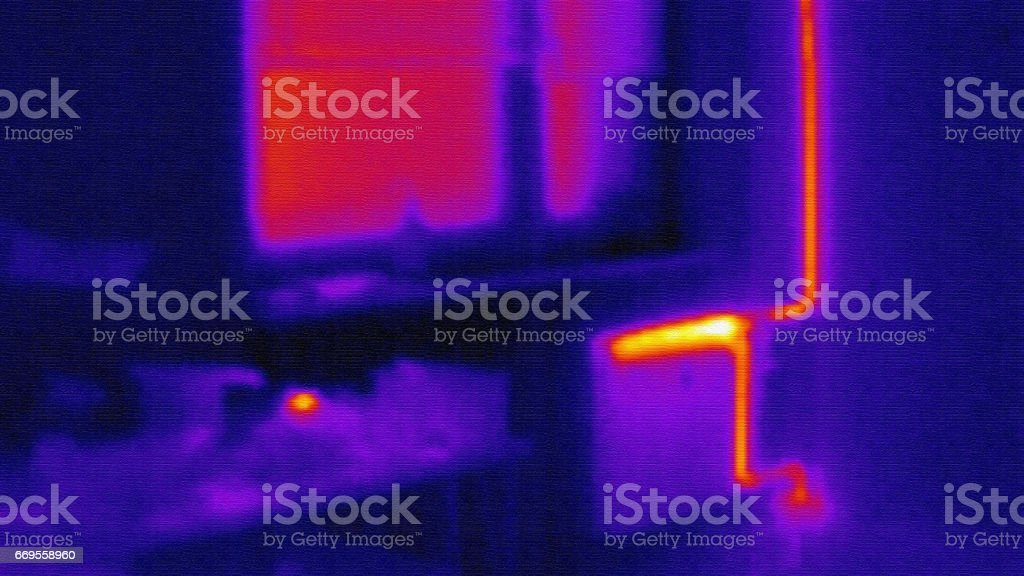 infrared photo of home heating system stock photo