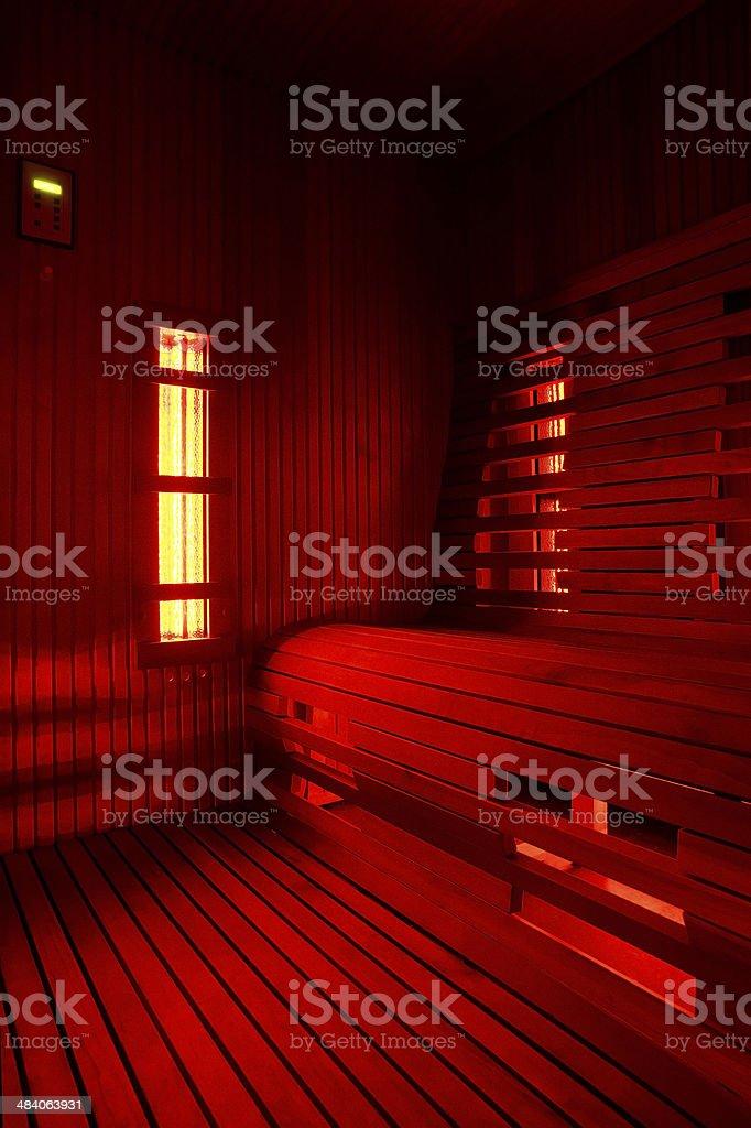Infrared sauna cabin stock photo