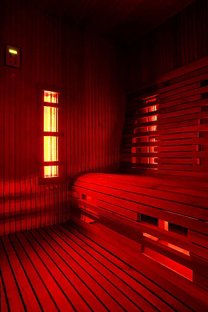 Infrared sauna cabin Infrared sauna cabin (infra)red light sauna stock pictures, royalty-free photos & images