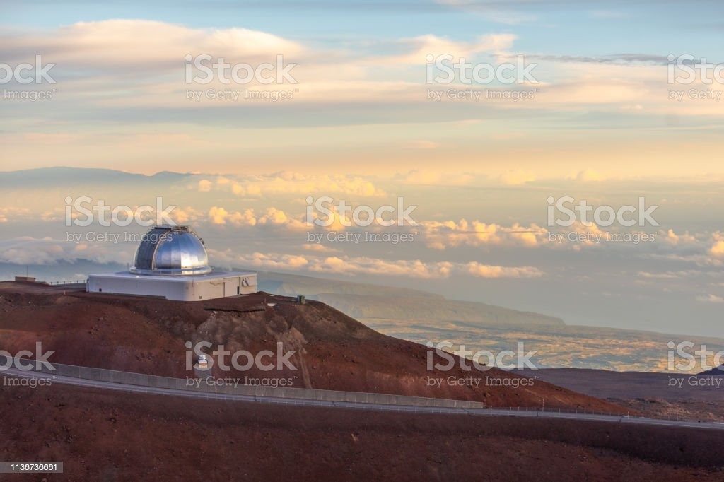 NASA Infrared Telescope Facility view on Mauna Kea Observatories stock photo