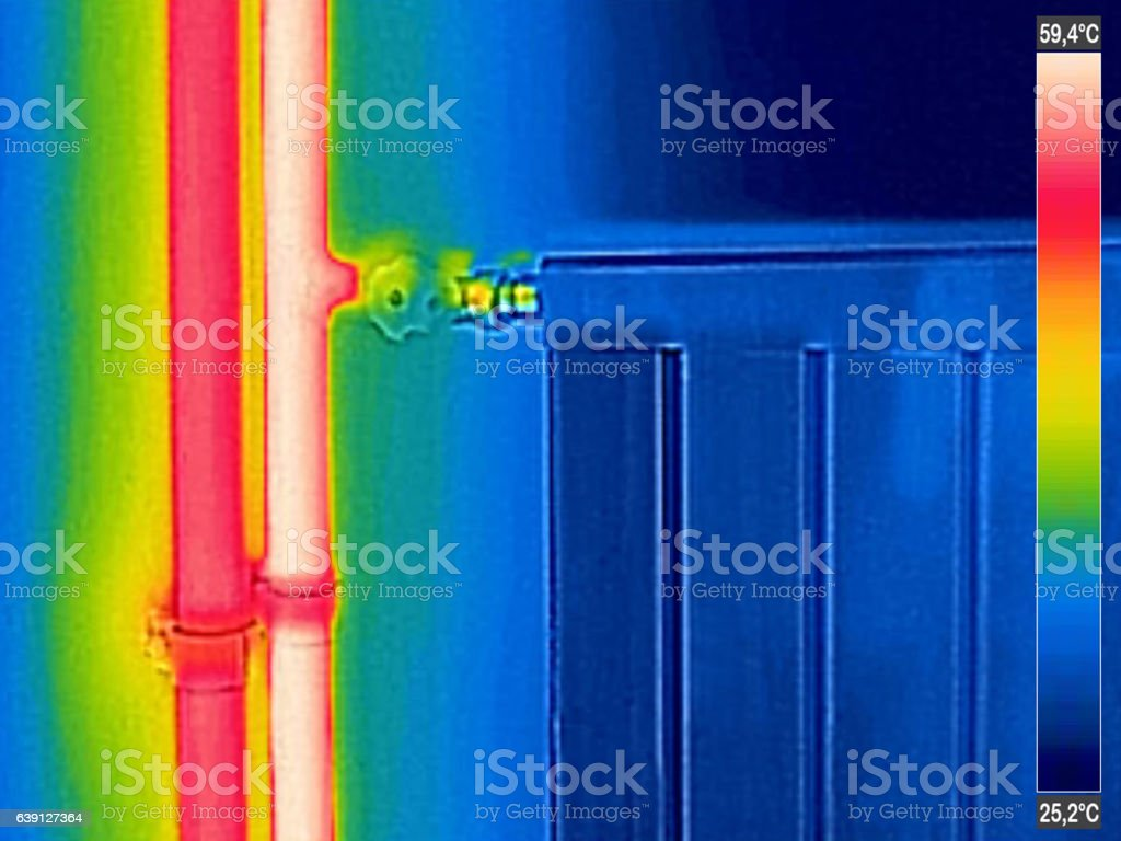 Infrared Thermal Image of closed Radiator Heater in house stock photo