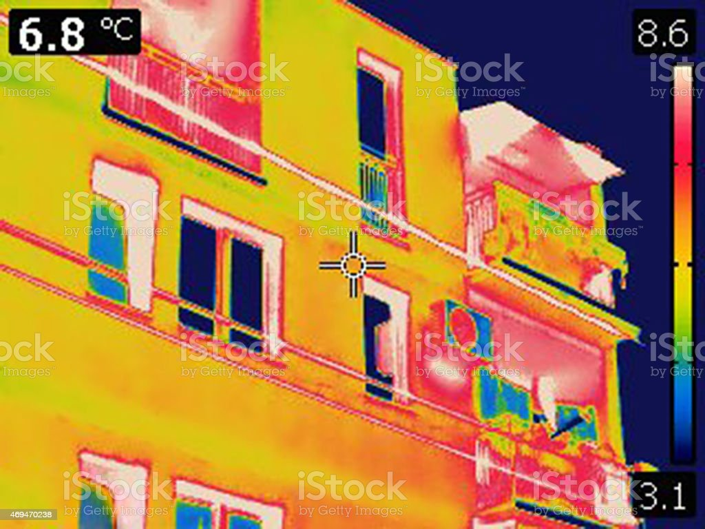 infrared thermal photo of building facade windows stock photo