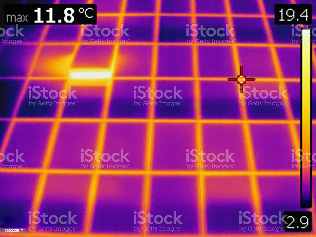 infrared thermal photo of glass facade building stock photo