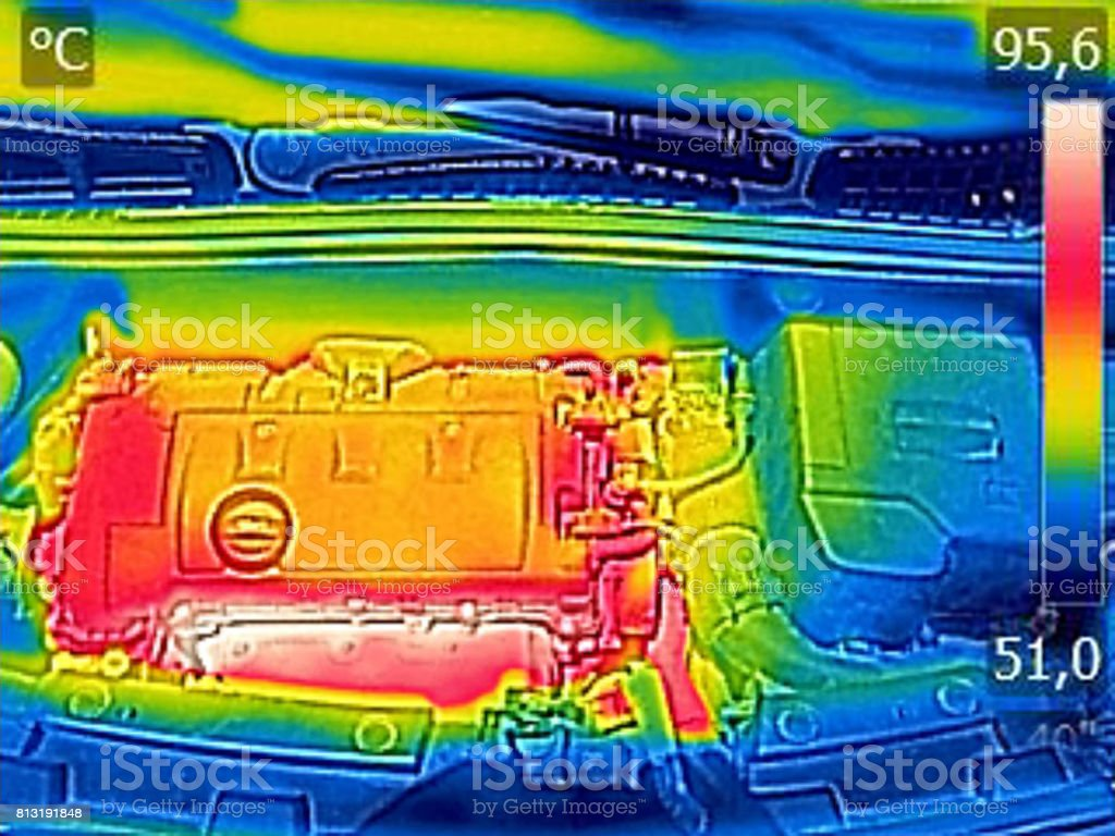 Infrared thermovision image showing Car Engine After driving stock photo