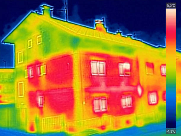 Infrared thermovision image showing lack of thermal insulation o stock photo
