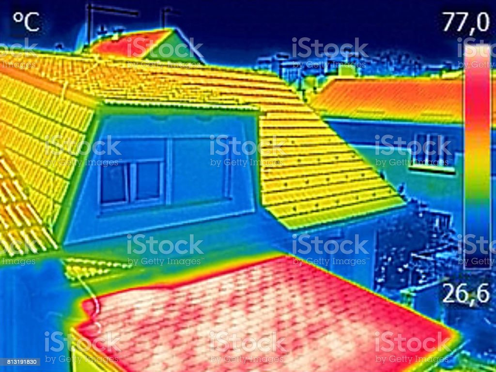 Infrared thermovision image showing Warmed roofs on family homes stock photo