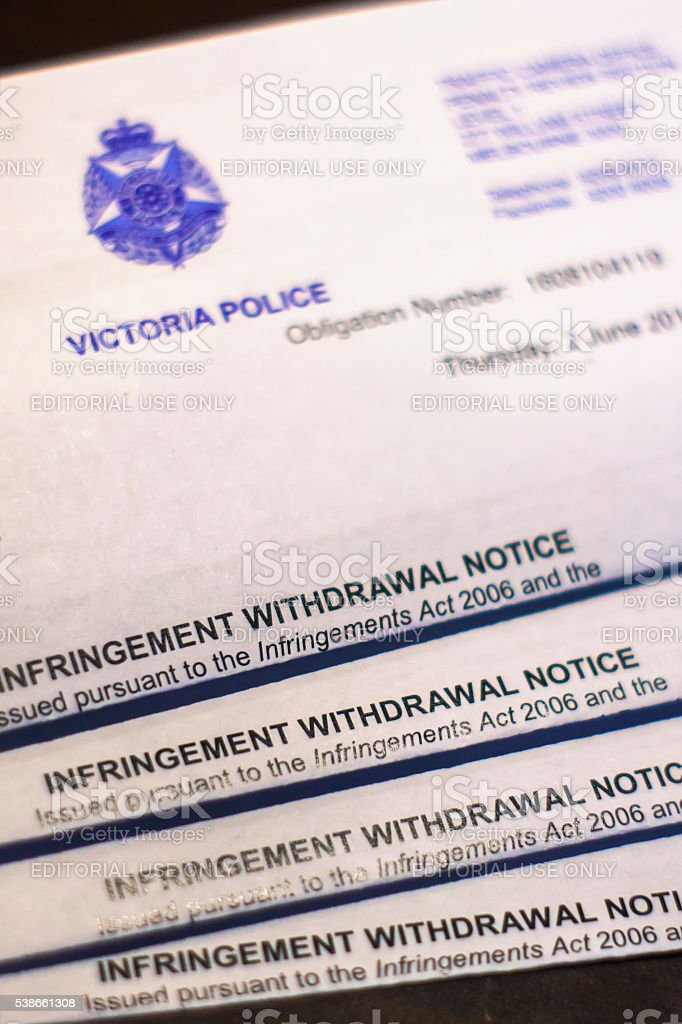 Infringement Withdrawal Notice stock photo