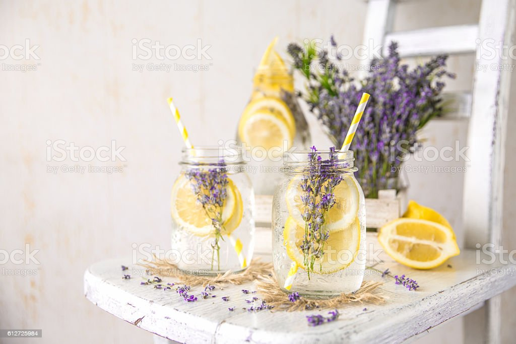 Infused Detox Water with Lemon and Lavender stock photo