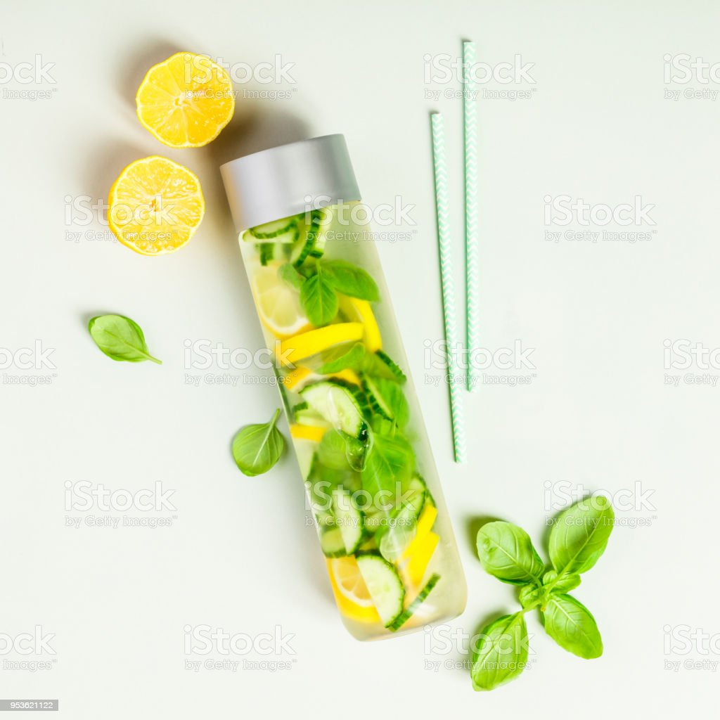 Infused water in a bottle stock photo