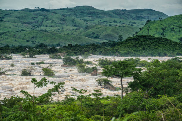 inga rapids of livingstone falls at lower congo river - republic of the congo stock photos and pictures