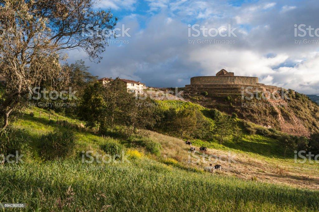 Ingapirca, Inca wall and town, largest known Inca ruins in Ecuador stock photo
