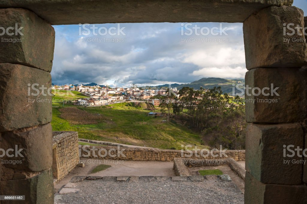 Ingapirca Inca wall, largest known Inca ruins in Ecuador, and new town stock photo