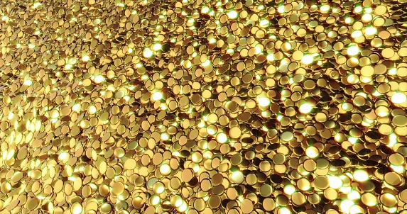 istock Ingots of pure gold. Golden background. Gold leaf texture. 1050127740