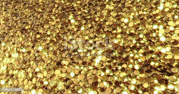 istock Ingots of pure gold. Golden background. Gold leaf texture. 1050129832