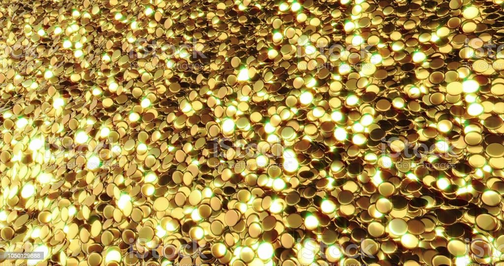 Ingots of pure gold. Golden background. Gold leaf texture 3d graphic.