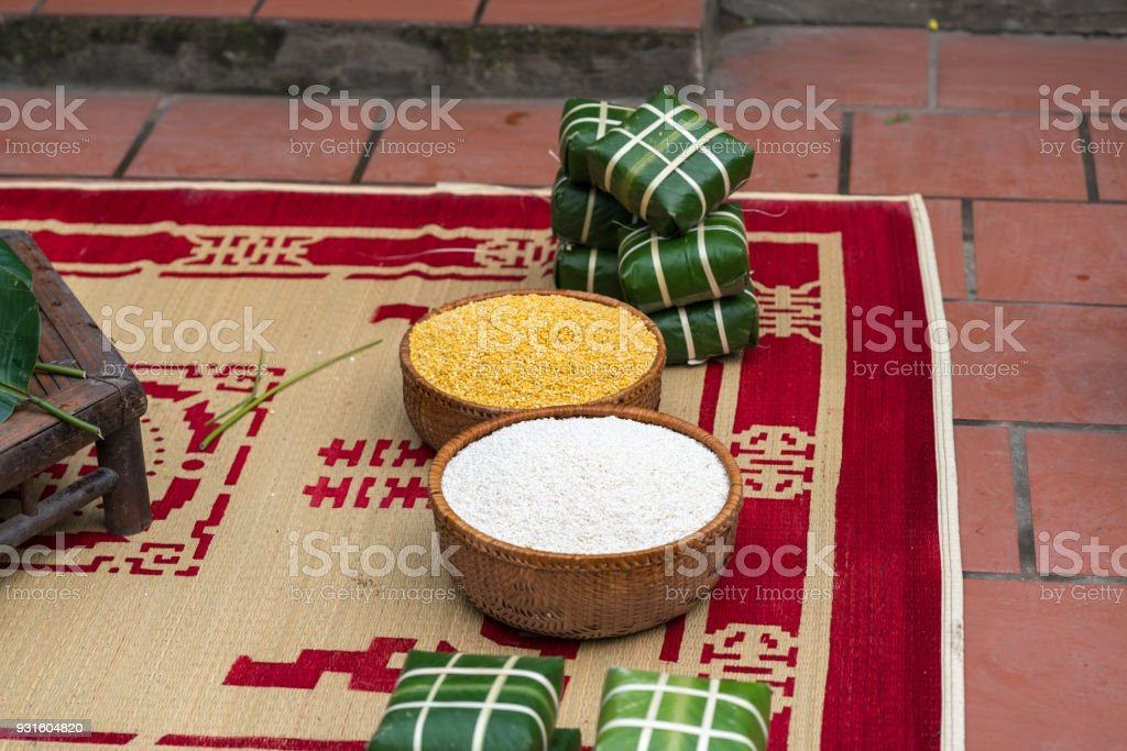 Ingradients to make Chung cake, the most important food of Vietnamese lunar new year Tet stock photo